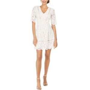 Vince Camuto Short Sleeve Lace Fit and Flare Dress